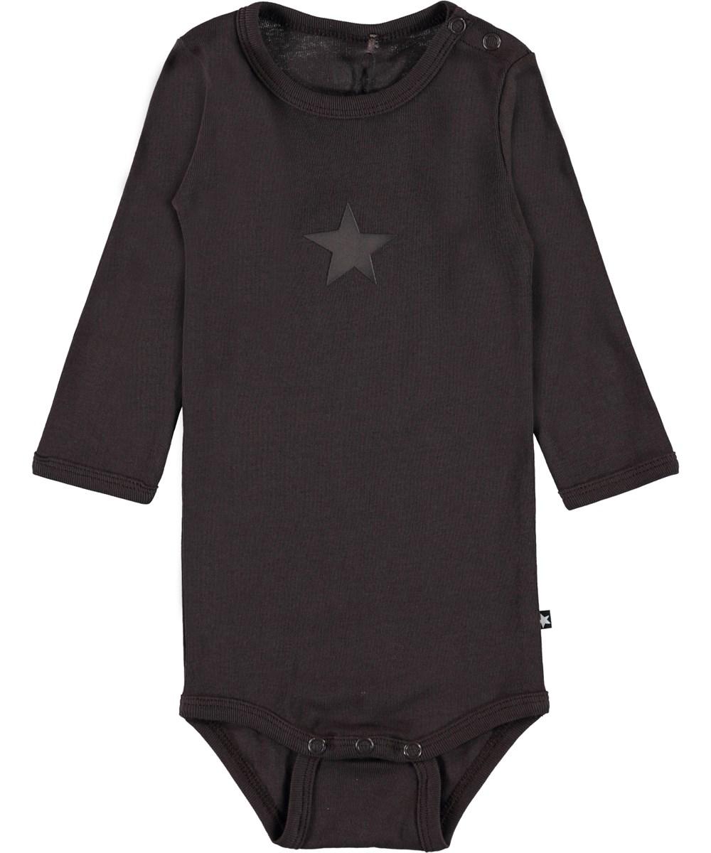 Foss - Brown Darkness - Brown organic baby bodysuit