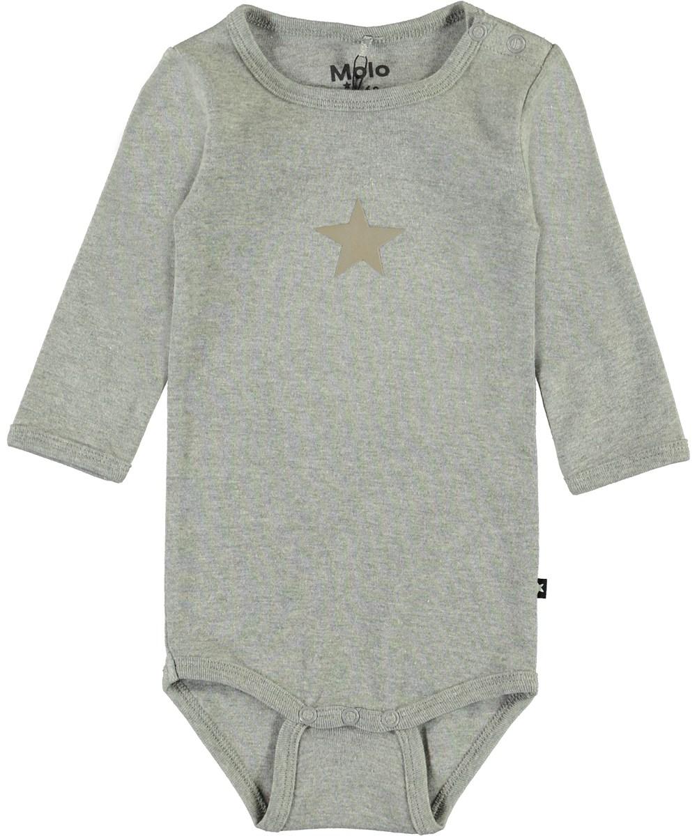 Foss - Grey Melange - Organic grey baby bodysuit
