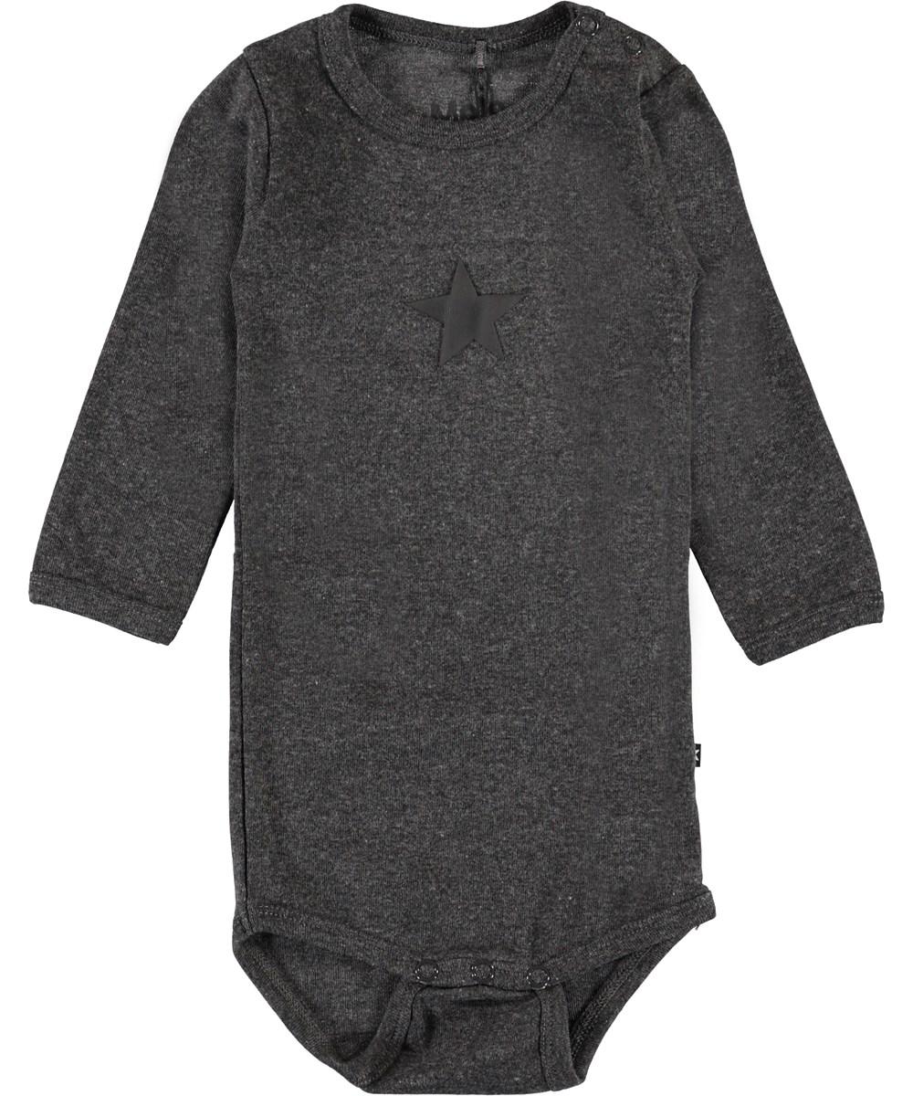 Foss - Medium Grey Melange - Organic dark grey baby bodysuit