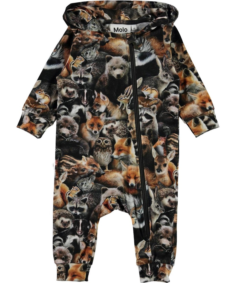 Fowo - Forest Animals - Organic baby romper with hood and animals