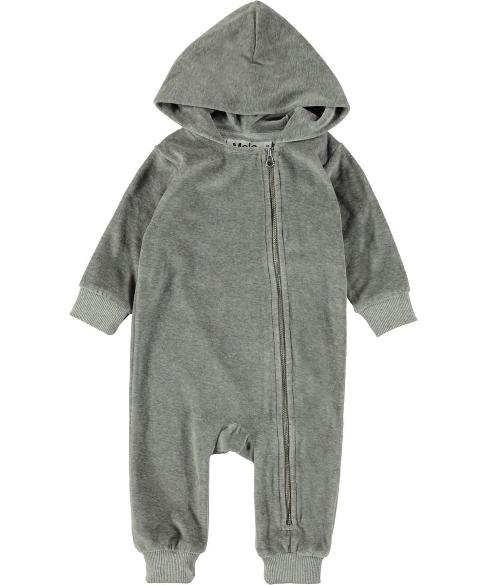 Fowo - Grey Melange - Grey velour baby romper.