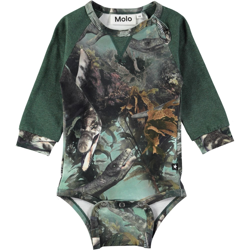 Frank - Lake Monters - Long sleeve, green baby bodysuit in a sweatshirt look with sea animals