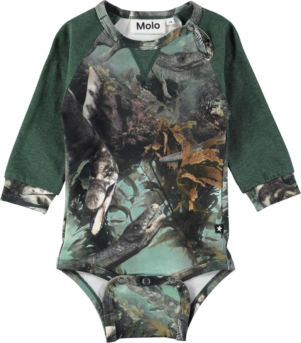 Frank - Lake Monters - Long sleeve, green baby bodysuit in a sweatshirt look with sea animals