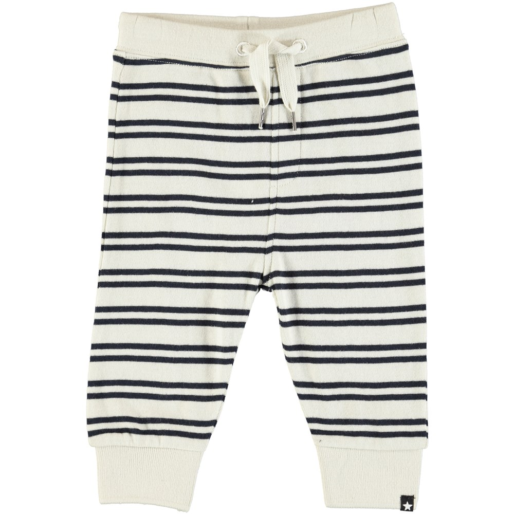 Same - Dark Navy Stripe - Soft baby trousers with stripes
