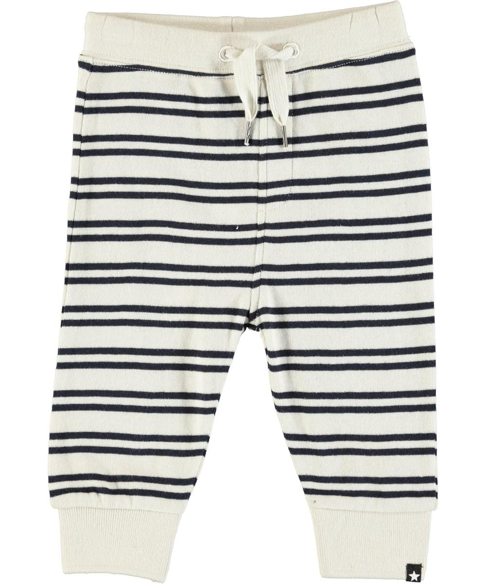 Same - Dark Navy Stripe - Soft baby trousers with stripes