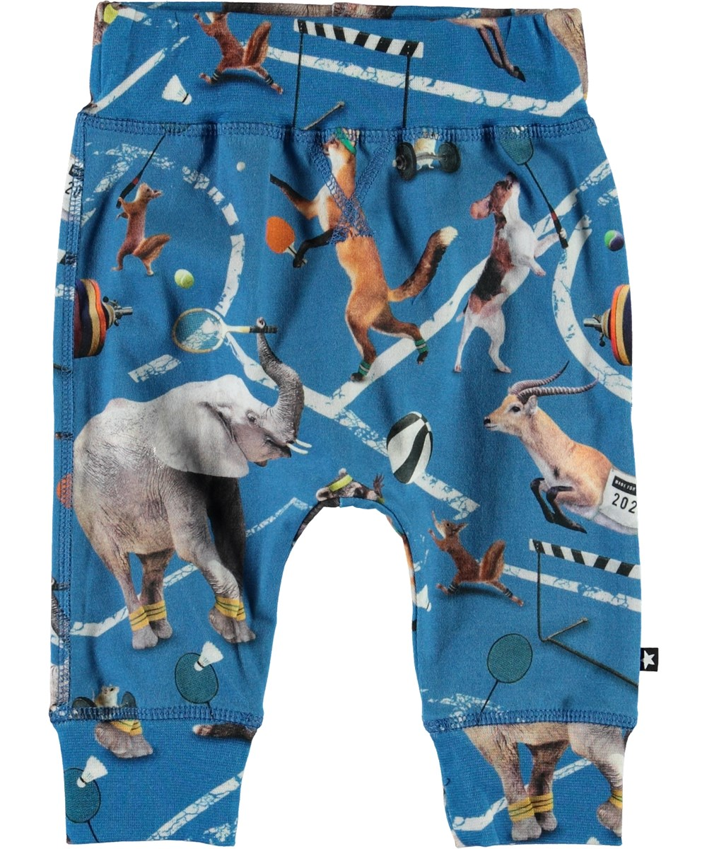 Sammy - Athletic Animals - Blue baby trousers with animal print