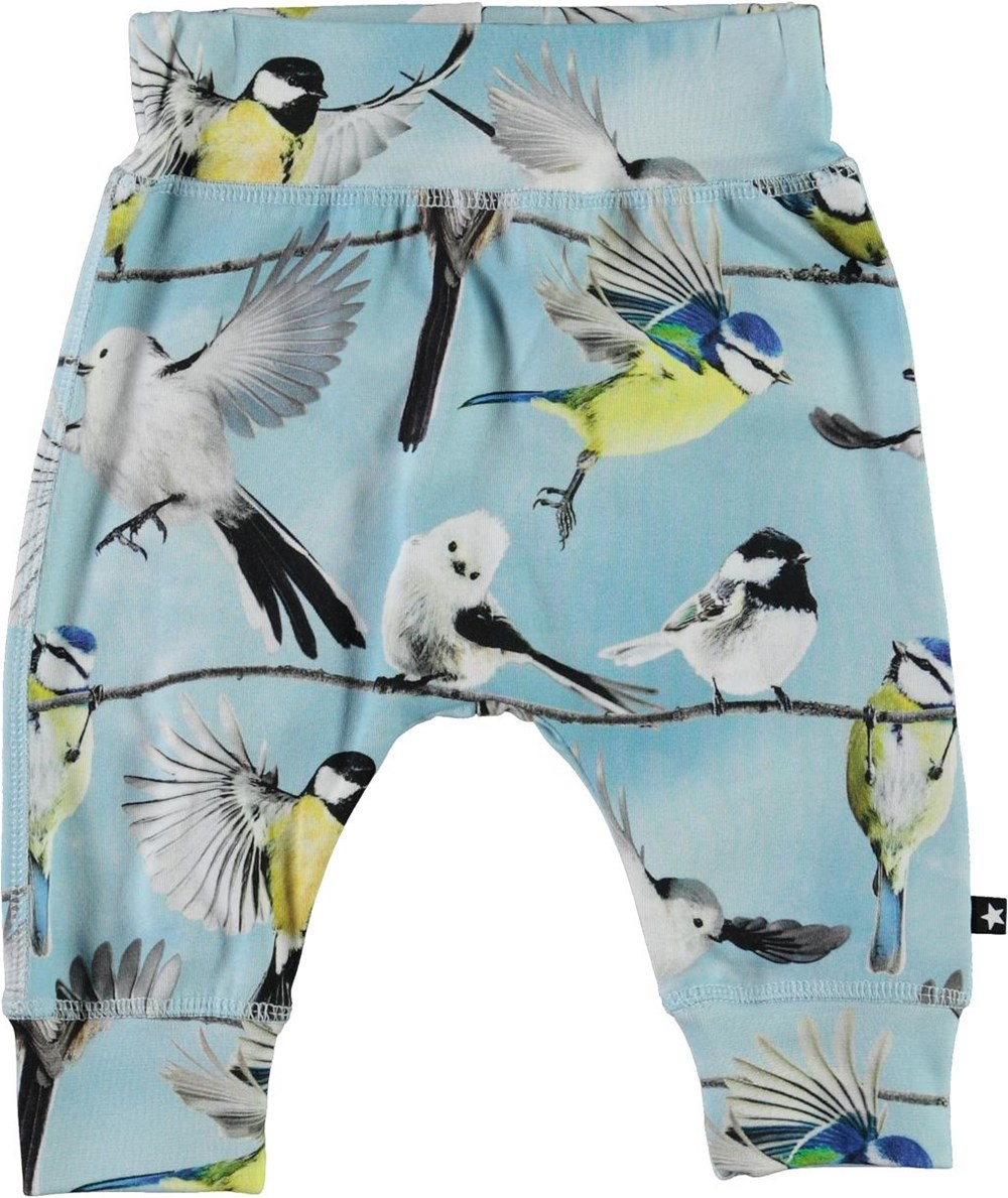 Sammy - Baby Birds - Light blue organic baby trousers with birds