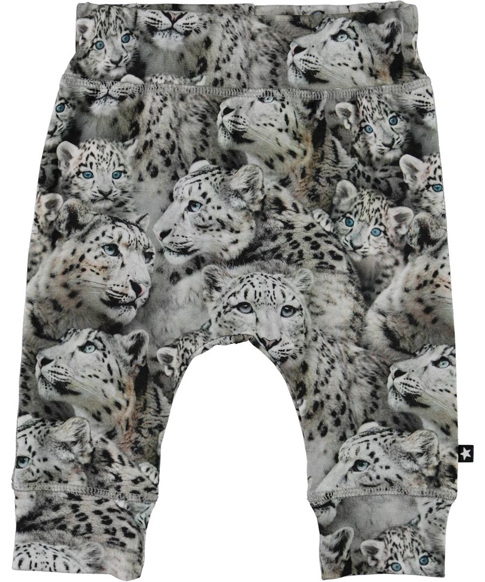 Sammy - Baby Leopards - Grey organic baby trousers with snow leopards