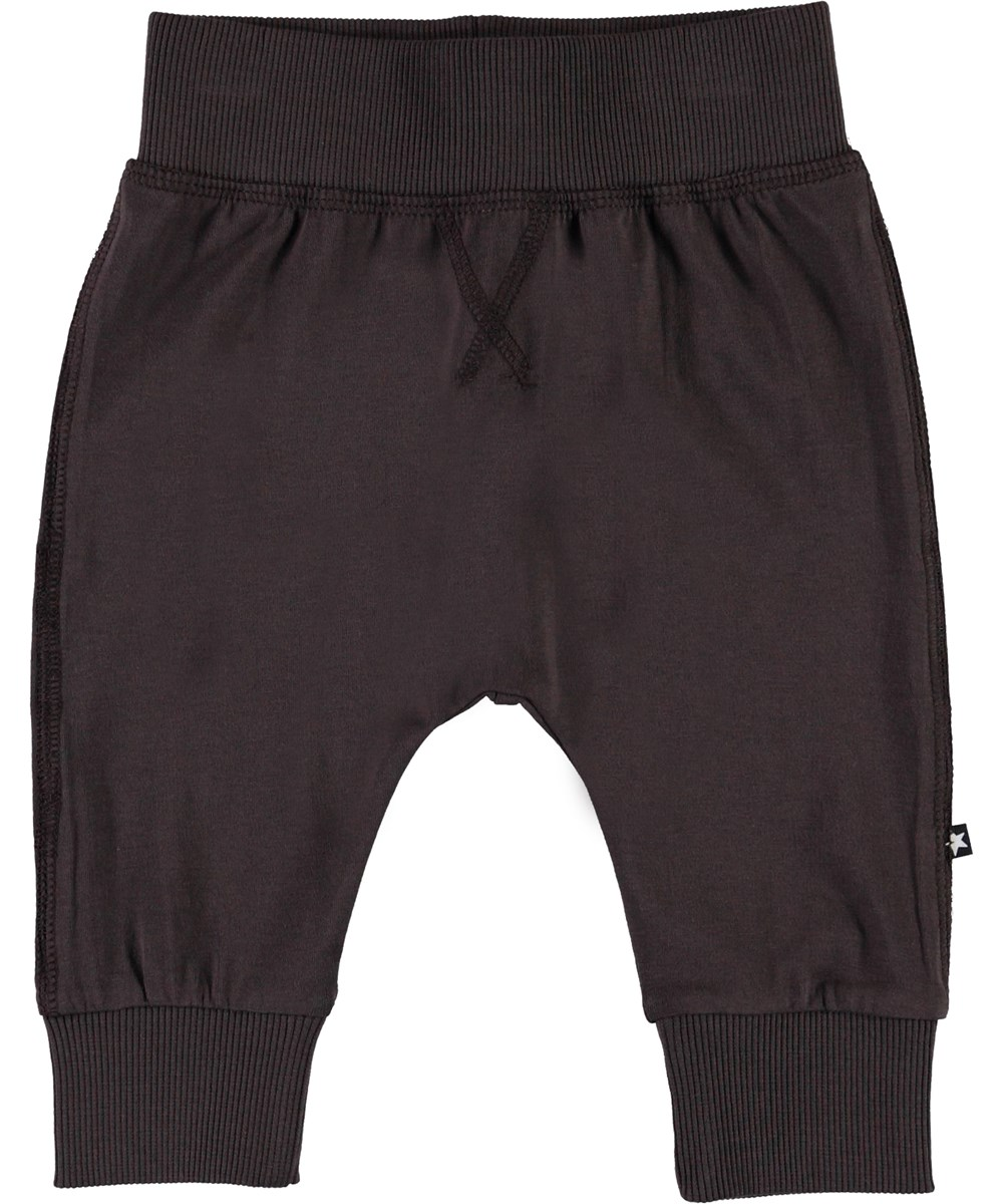 Sammy - Brown Darkness - Dark brown organic baby trousers