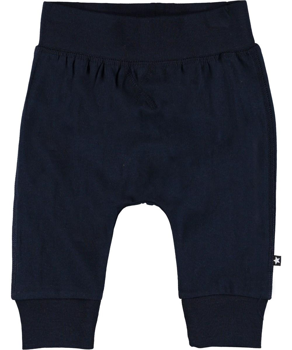 Sammy - Carbon - Dark blue baby trousers.