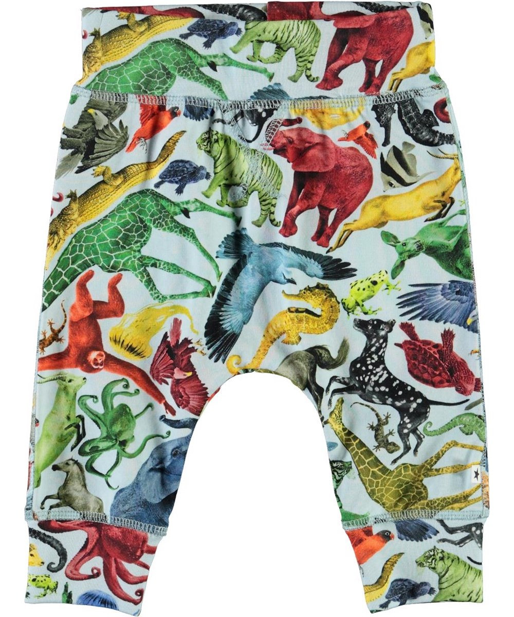 Sammy - Colourful Animals - Organic baby trousers with animal print