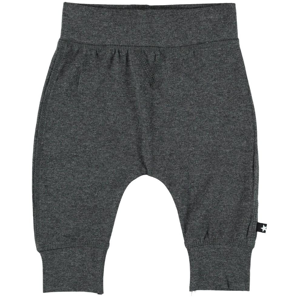 Sammy - Dark Grey Melange - Dark grey baby trouser in a sweatpant look