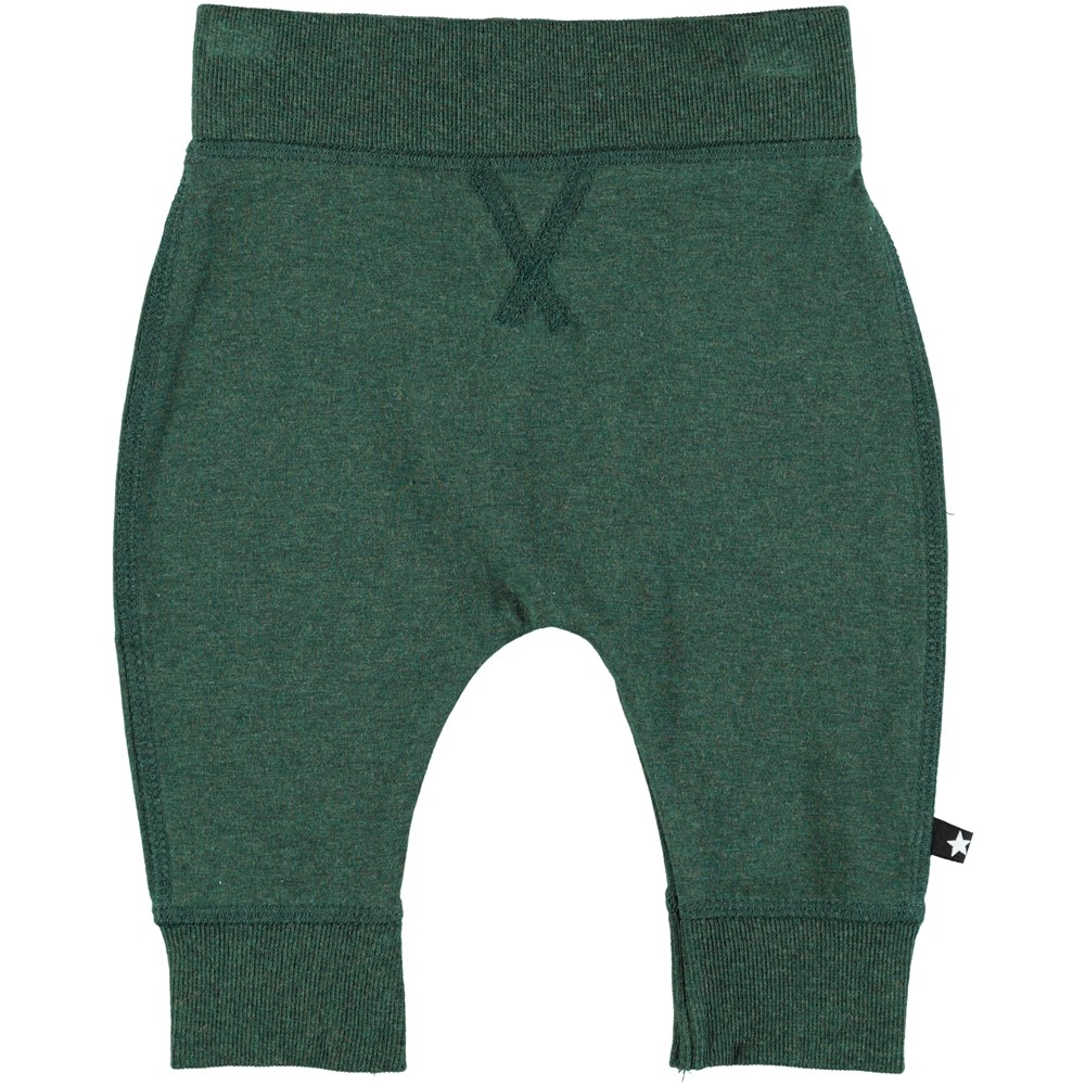 Sammy - Deep Forest Melange - Green baby trouser in a sweatpant look