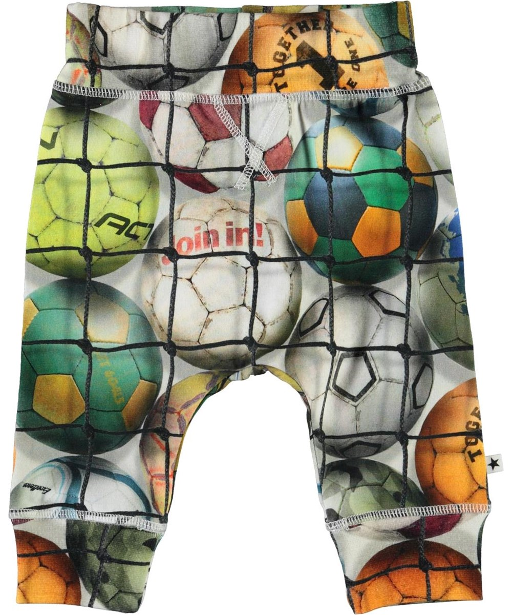 Sammy - Footballs - Organic baby trousers with footballs