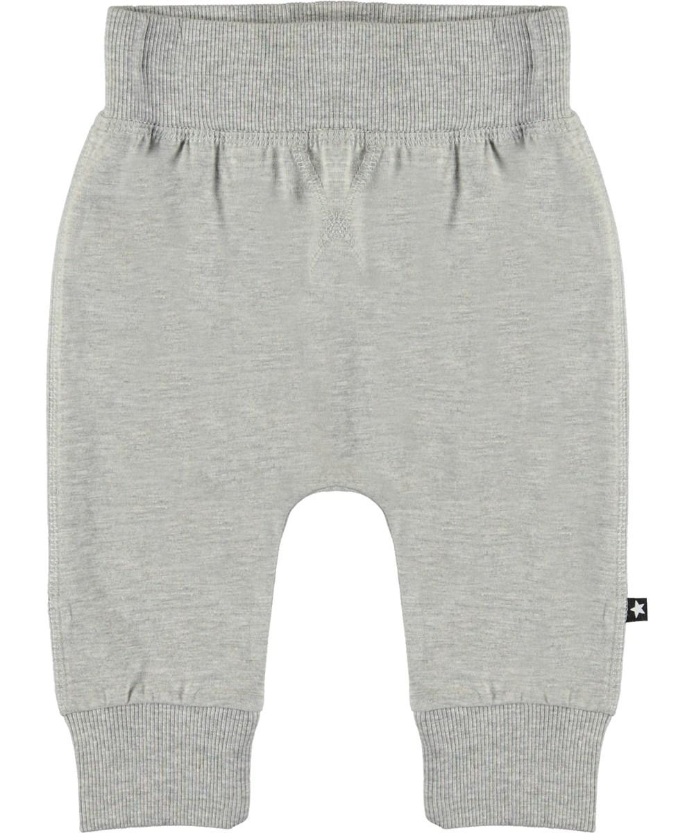 Sammy - Grey Melange - Organic grey baby trousers