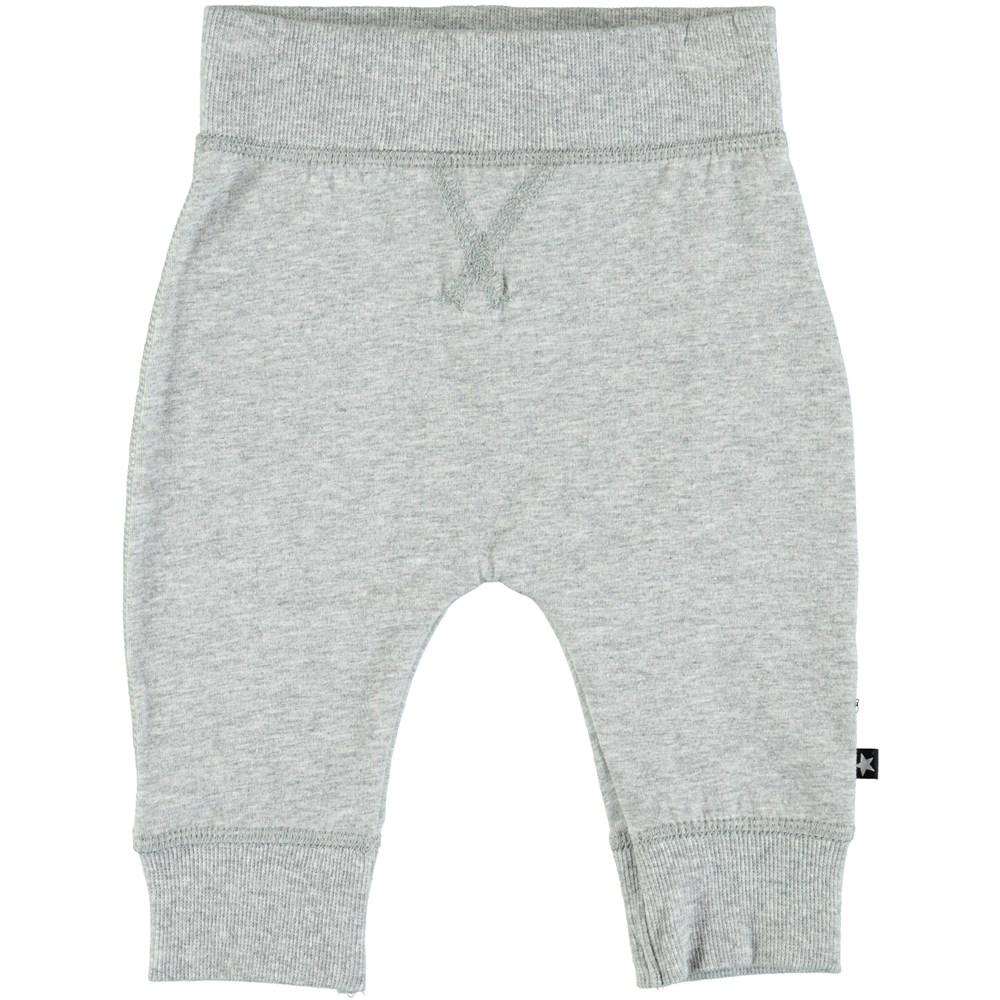 Sammy - Grey Melange - Grey baby trouser in a sweatpant look
