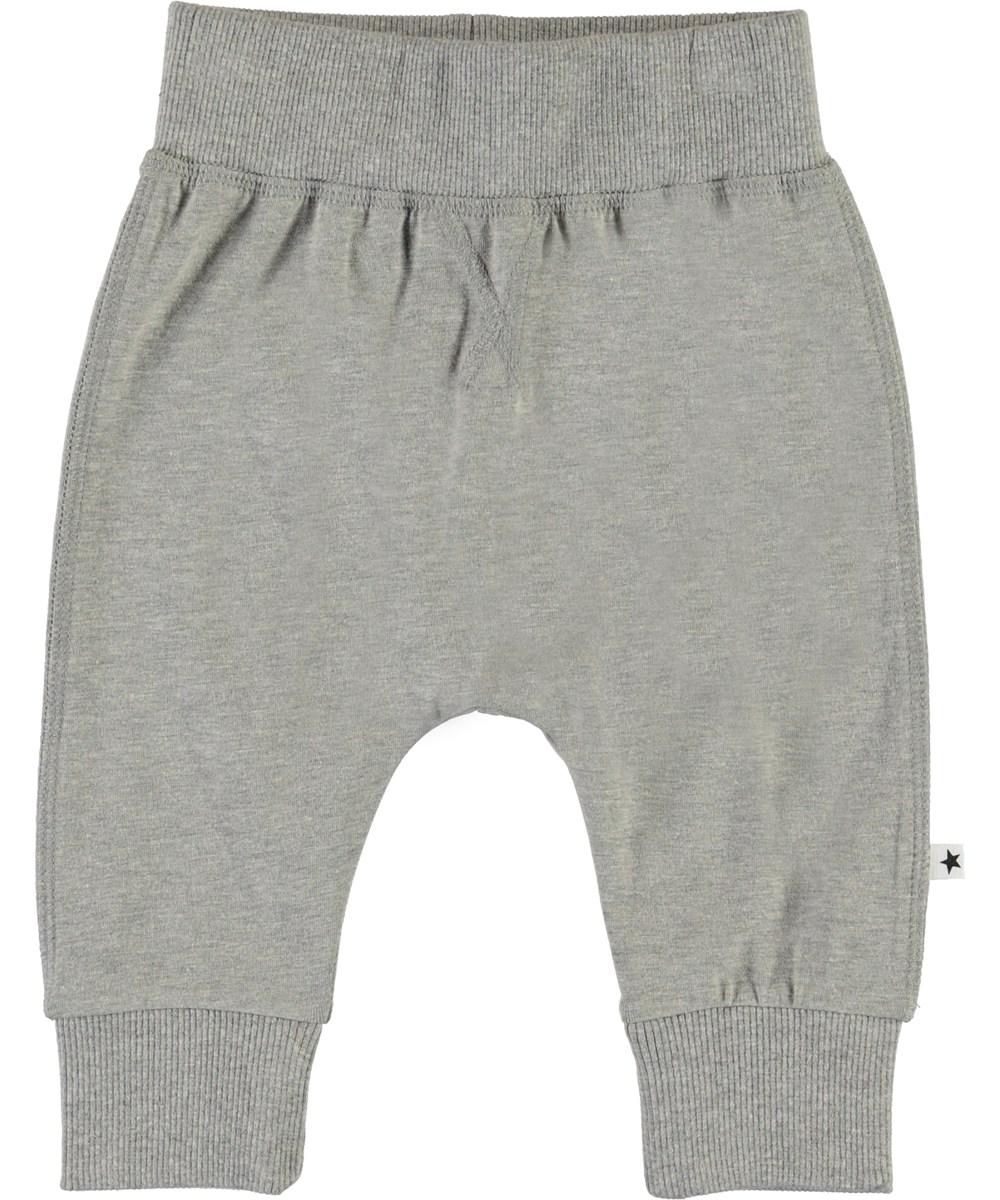 Sammy - Grey Melange - Grey organic baby trousers