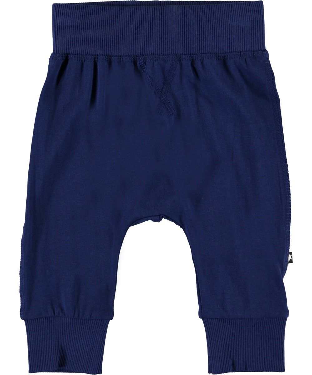 Sammy - Ink Blue - Blue organic baby trousers