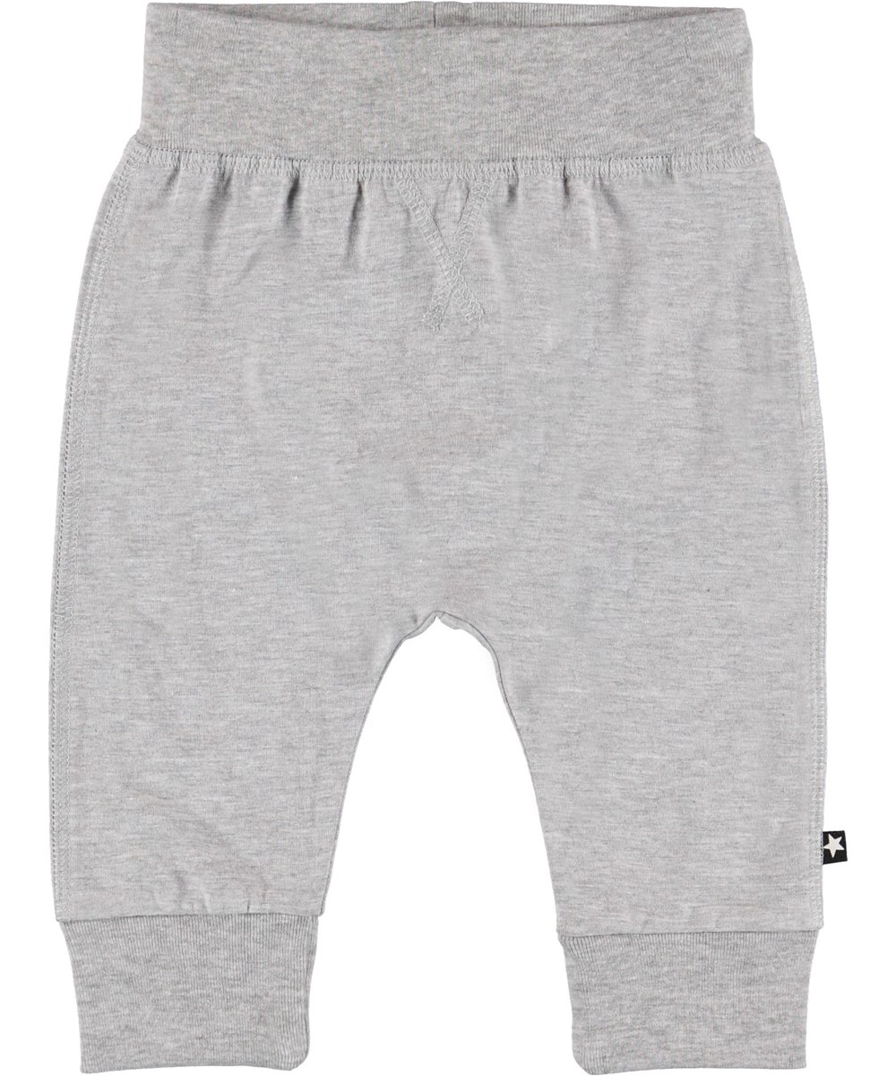 Sammy - Light Grey Melange - Grey baby trousers.