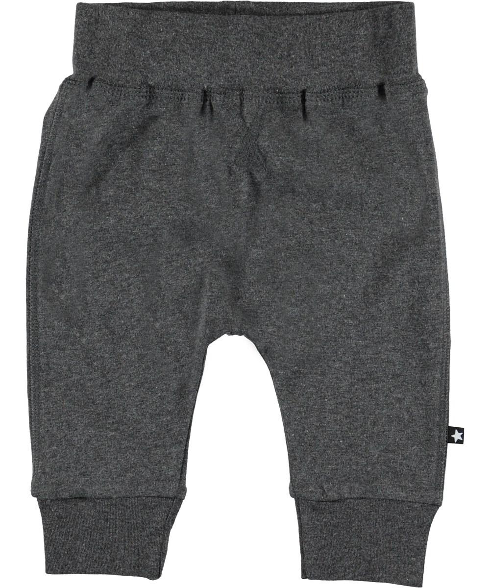 Sammy - Medium Grey Melange - Grey baby trousers.