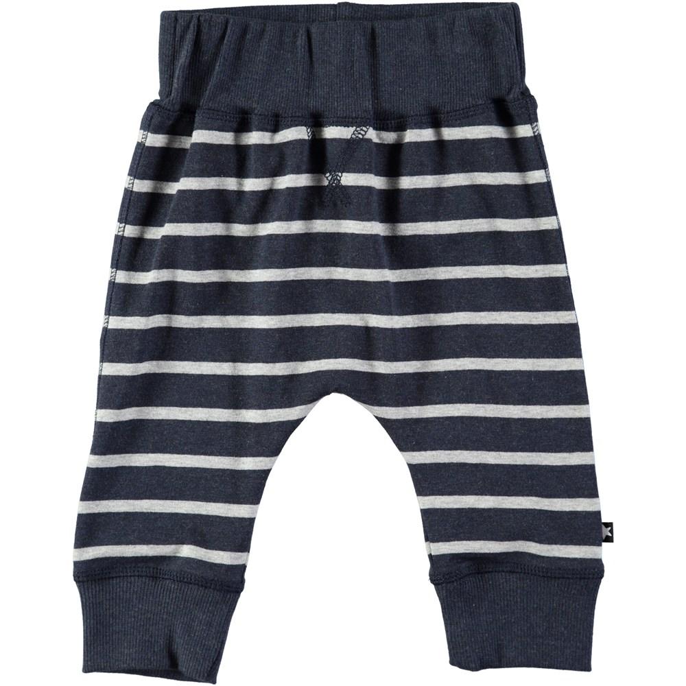 Sammy - Melange Stripe - Roomy, dark blue baby trousers with stripes