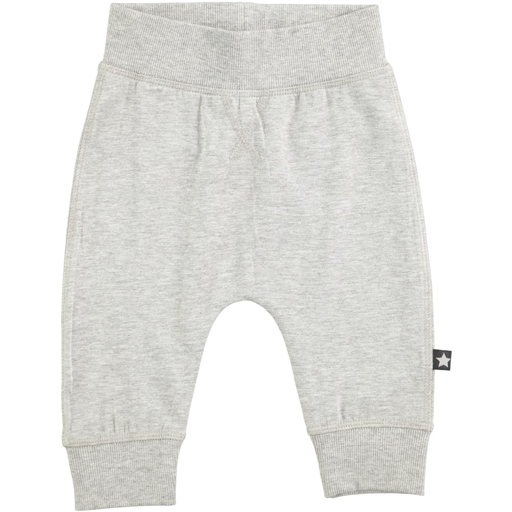 Sammy - Grey Melange - roomy grey baby trousers