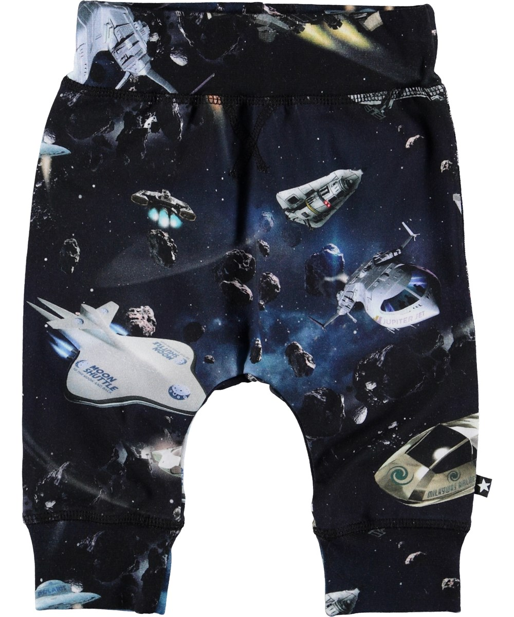 Sammy - Space Traffic - Baby trousers with spaceships.