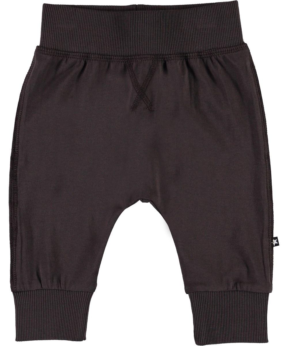 Sammy - Brown Darkness - Dark brown organic baby trousers