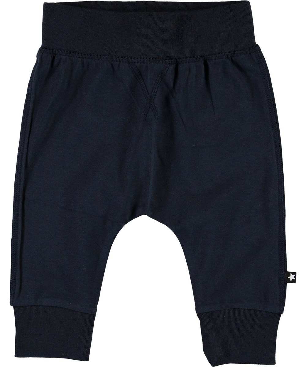 Sammy - Dark Navy - Dark blue organic baby trousers