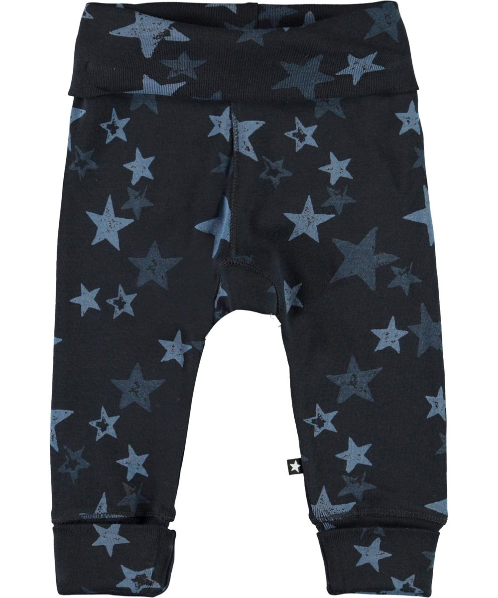 San - Stars - Blue organic baby trousers with stars