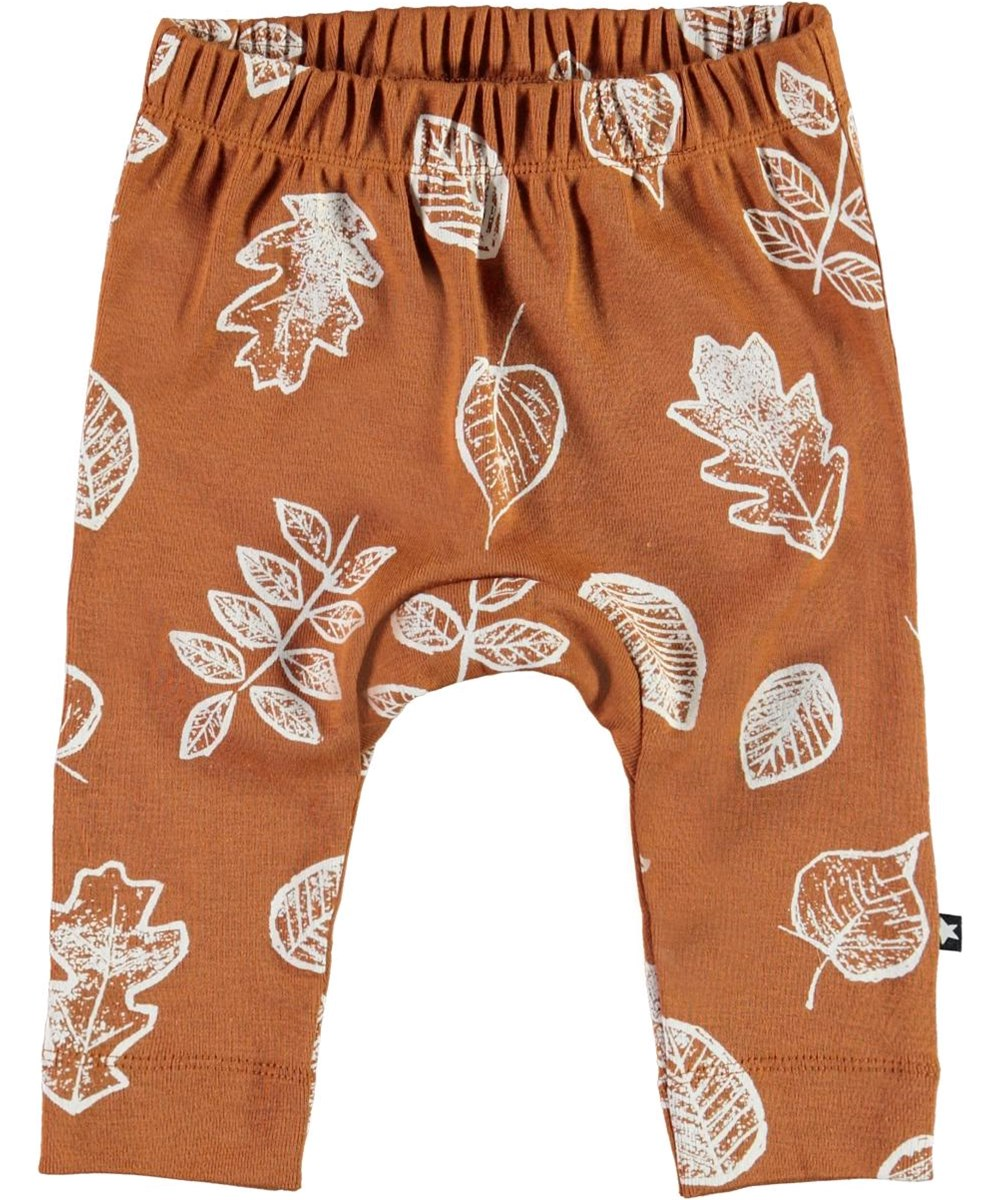 Seb - Leaves - Brown organic baby trousers with white leaves