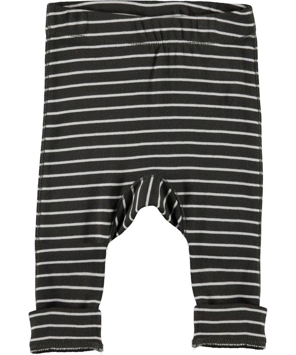 Seb - Narrow Stripe - Grey organic baby trousers with white stripes