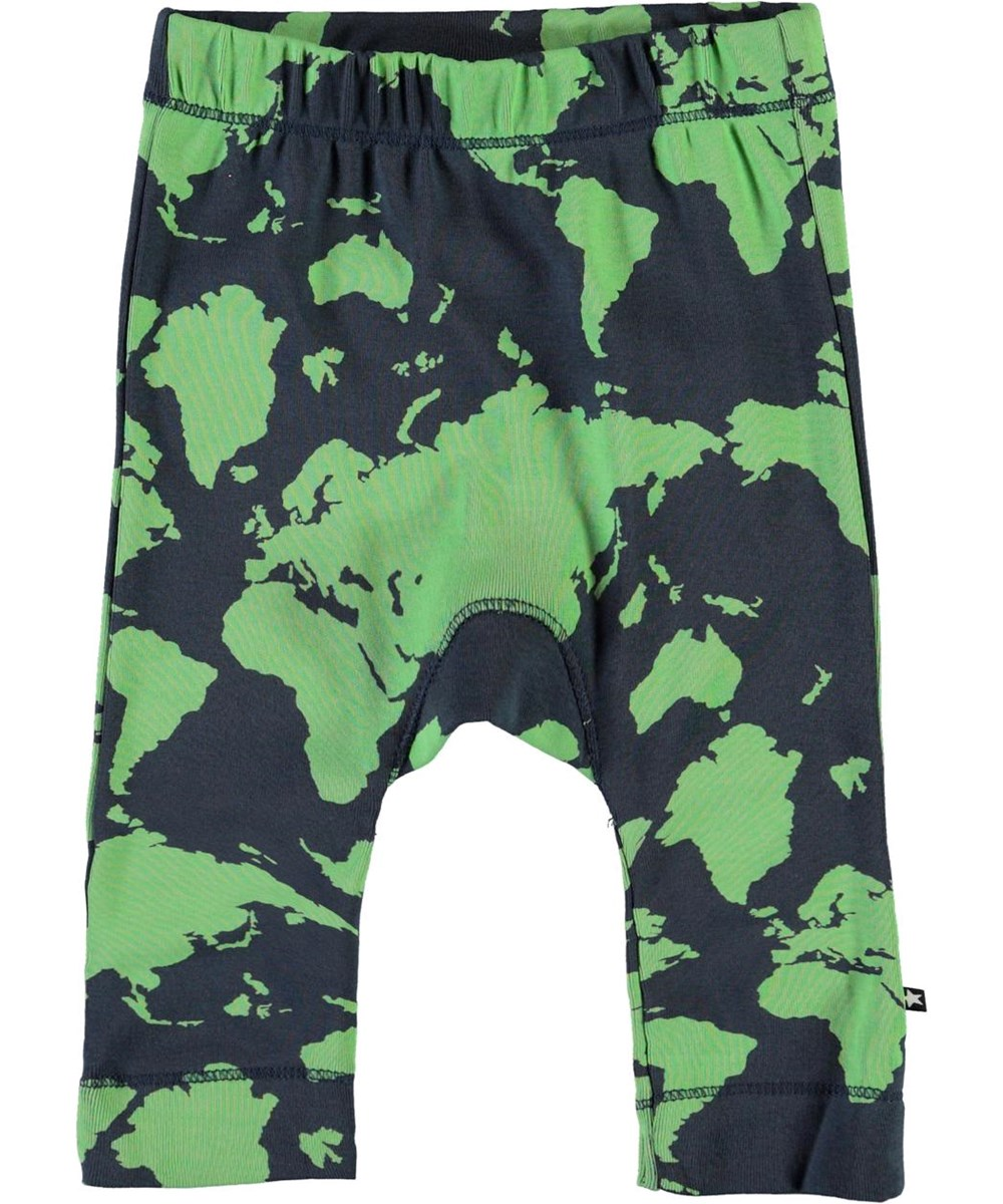 Seb - Small World - Baby trousers with a world map print