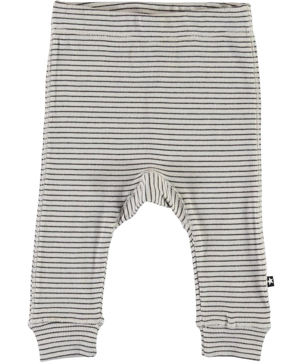 Seb - White Brown Stripe - Striped baby trousers in brown