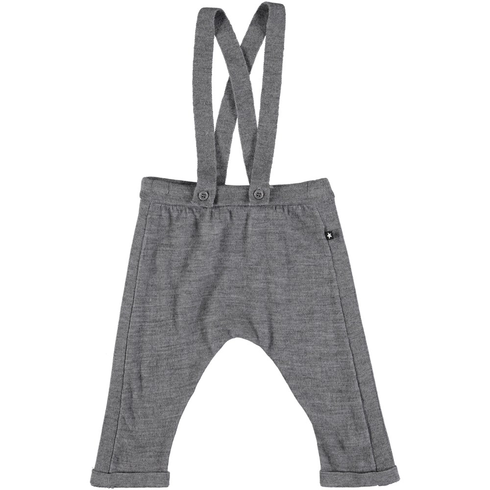 Sergej - Grey Melange - Grey, wool baby trousers with braces
