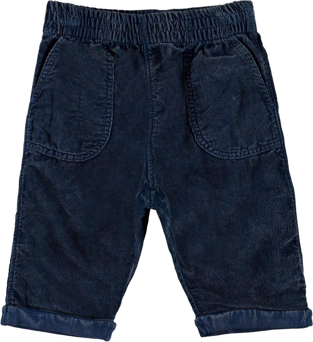 Seve - Sea - Dark blue baby corduroy trousers