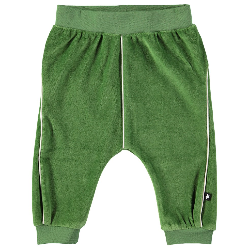 Shura - Field Green - Green baby trousers in velour