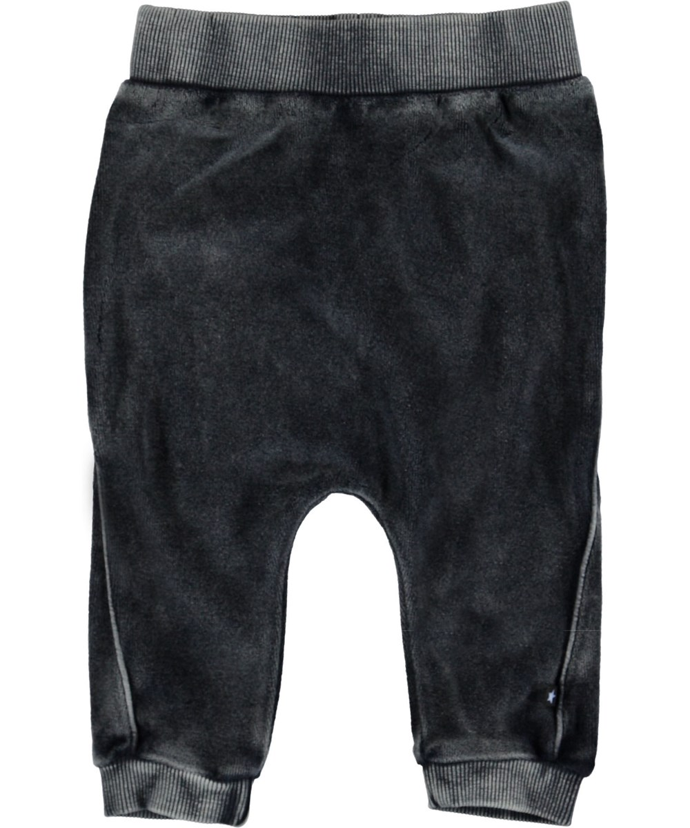Sido - Carbon - Grey velour baby trousers.