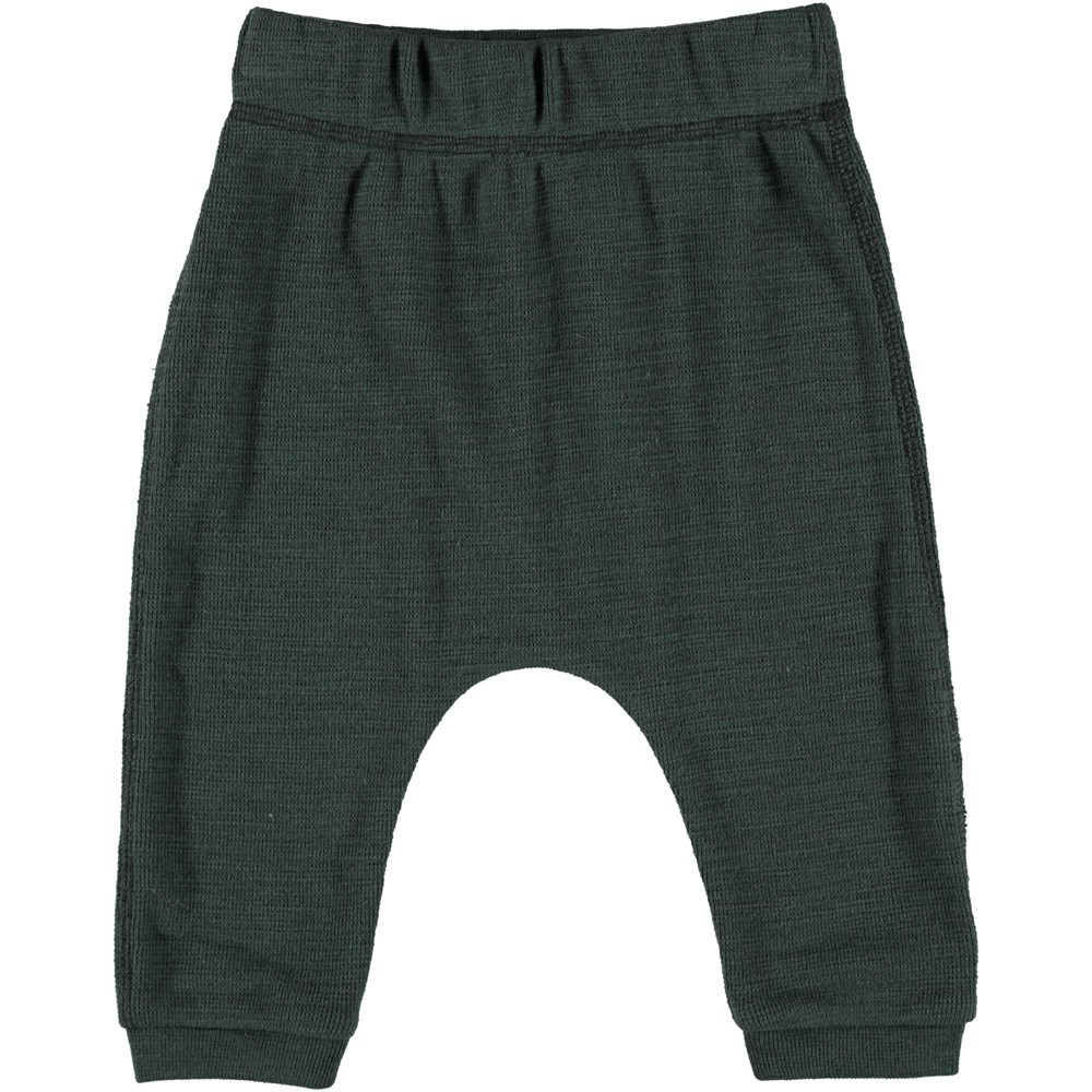 Sigg - Deep Forest - Dark green baby trousers in soft cotton quality