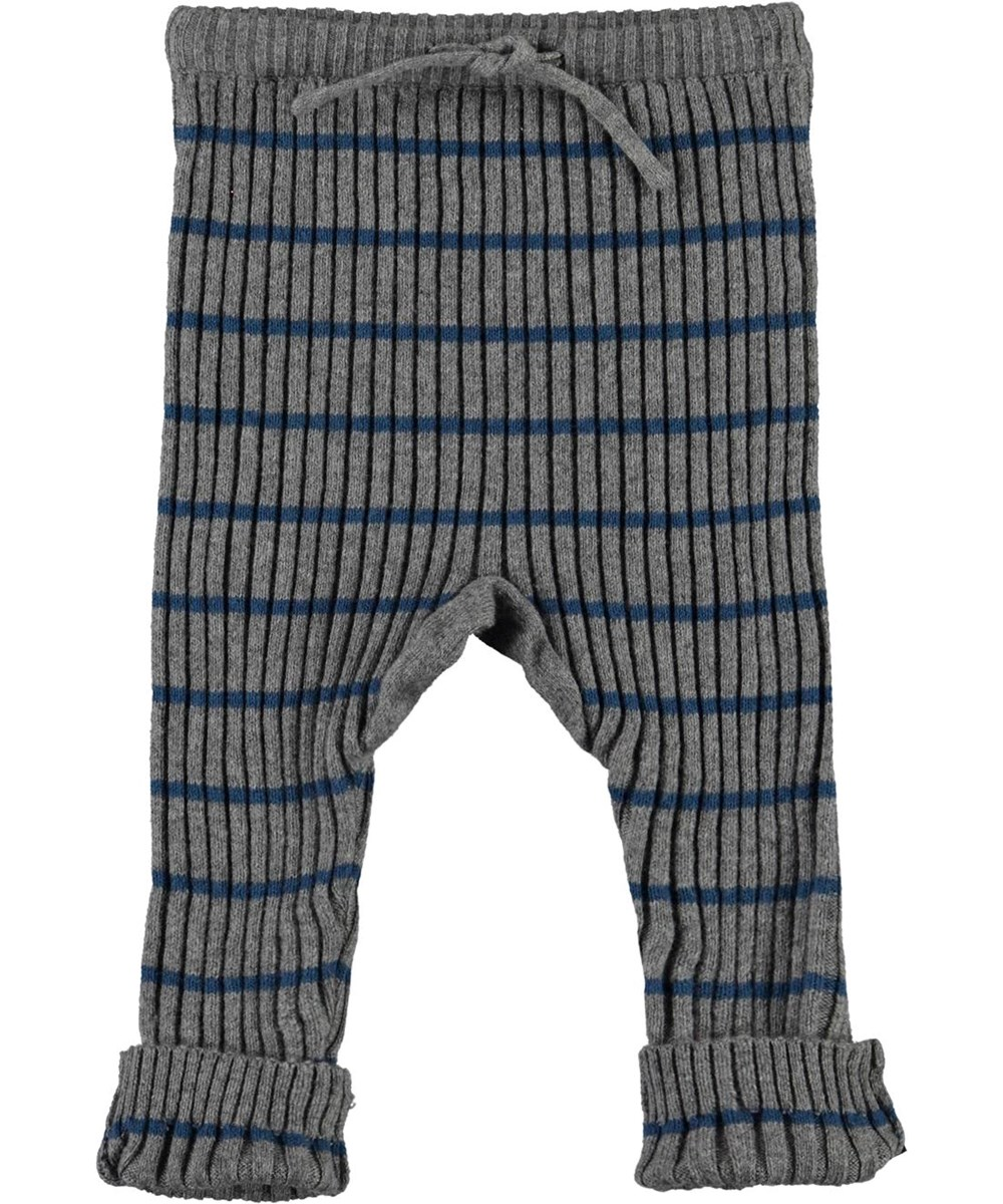 Sigmund - Slim Stripe - Grey knit baby trousers with blue stripes