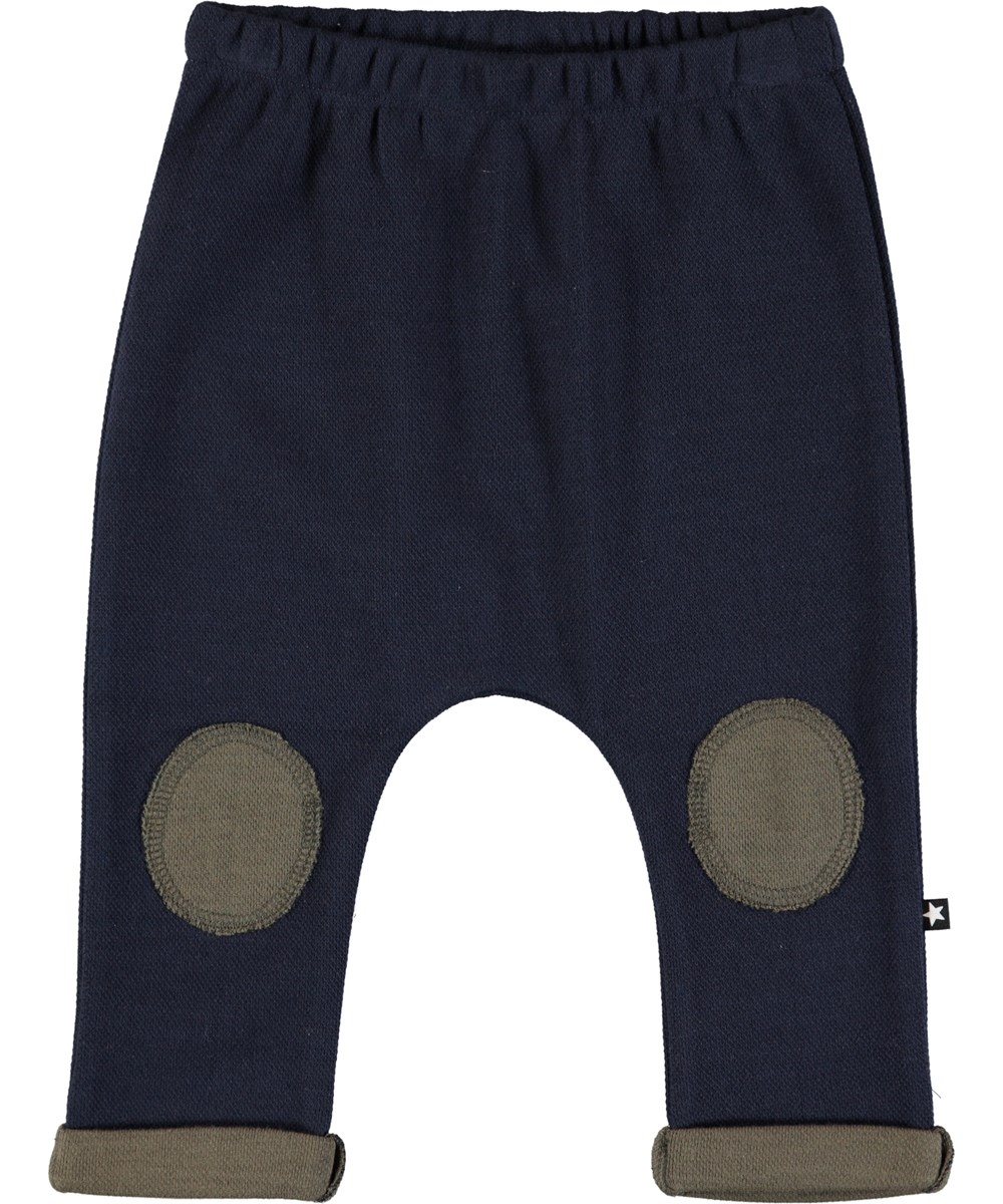 Sigurd - Dark Navy - Dark blue baby trousers with patches and roll up