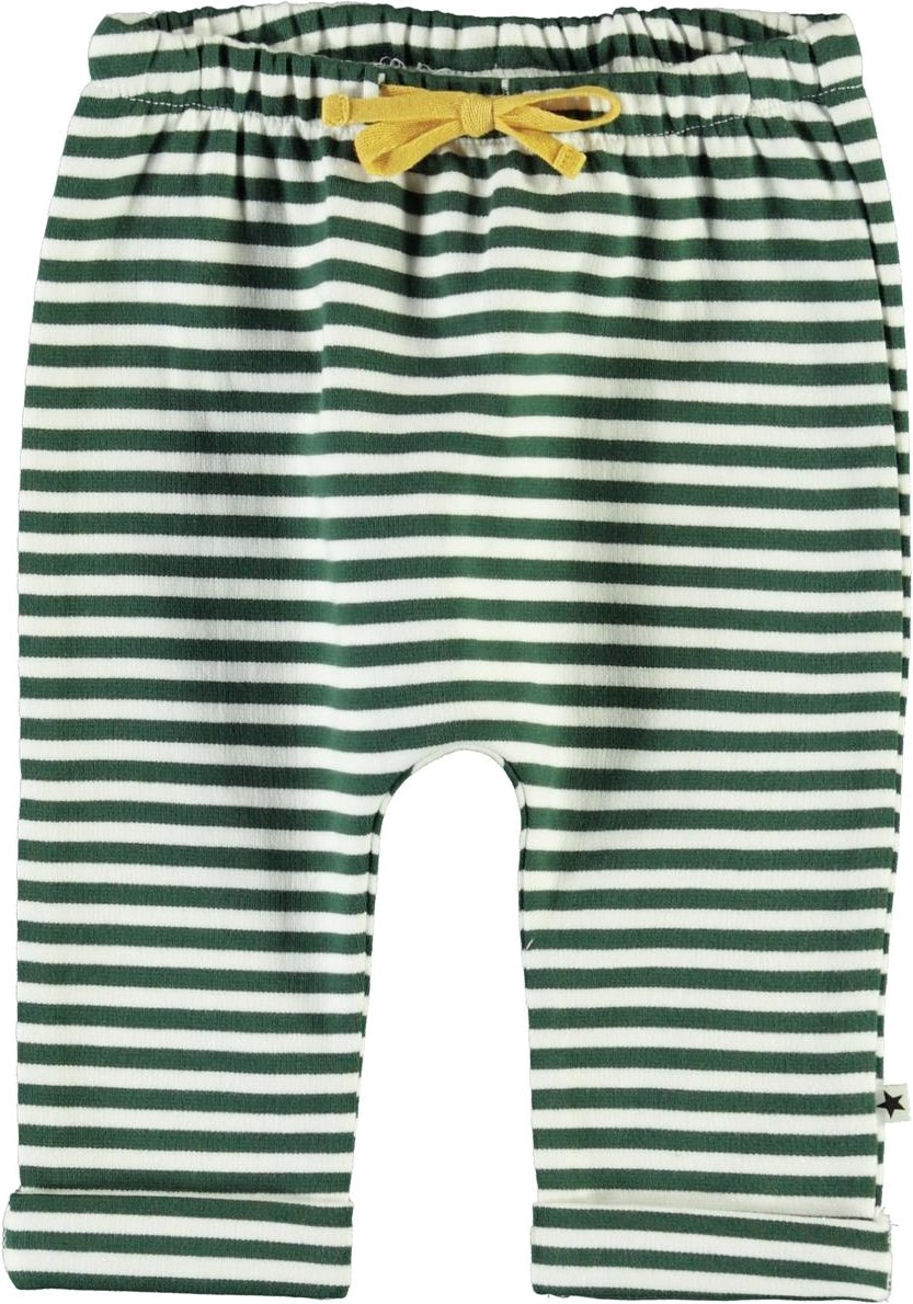 Sigurd - Green Stripe - White and green striped baby trousers