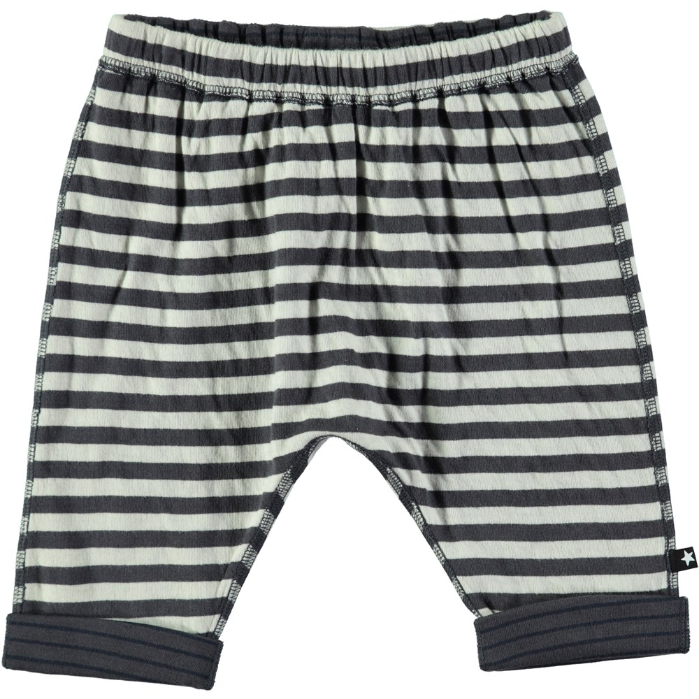 Simi - Dark Grey Double Stripe - Soft and roomy baby trousers with stripes