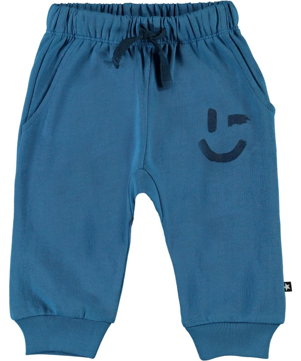 Simme - Aqua - Blue organic baby trousers with smiley face