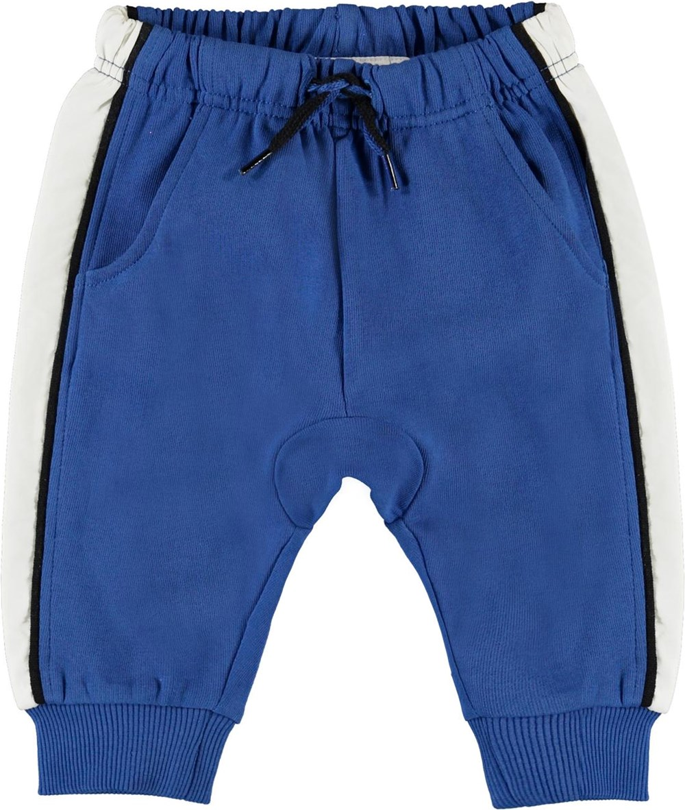 Simme - Cobalt - Blue baby trousers with white stripe