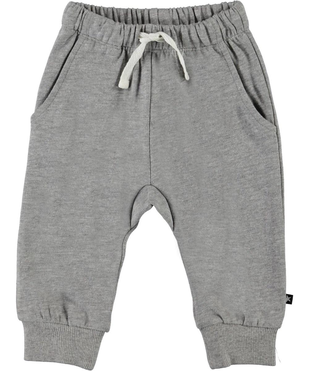 Simme - Grey Melange - Grey organic baby trousers