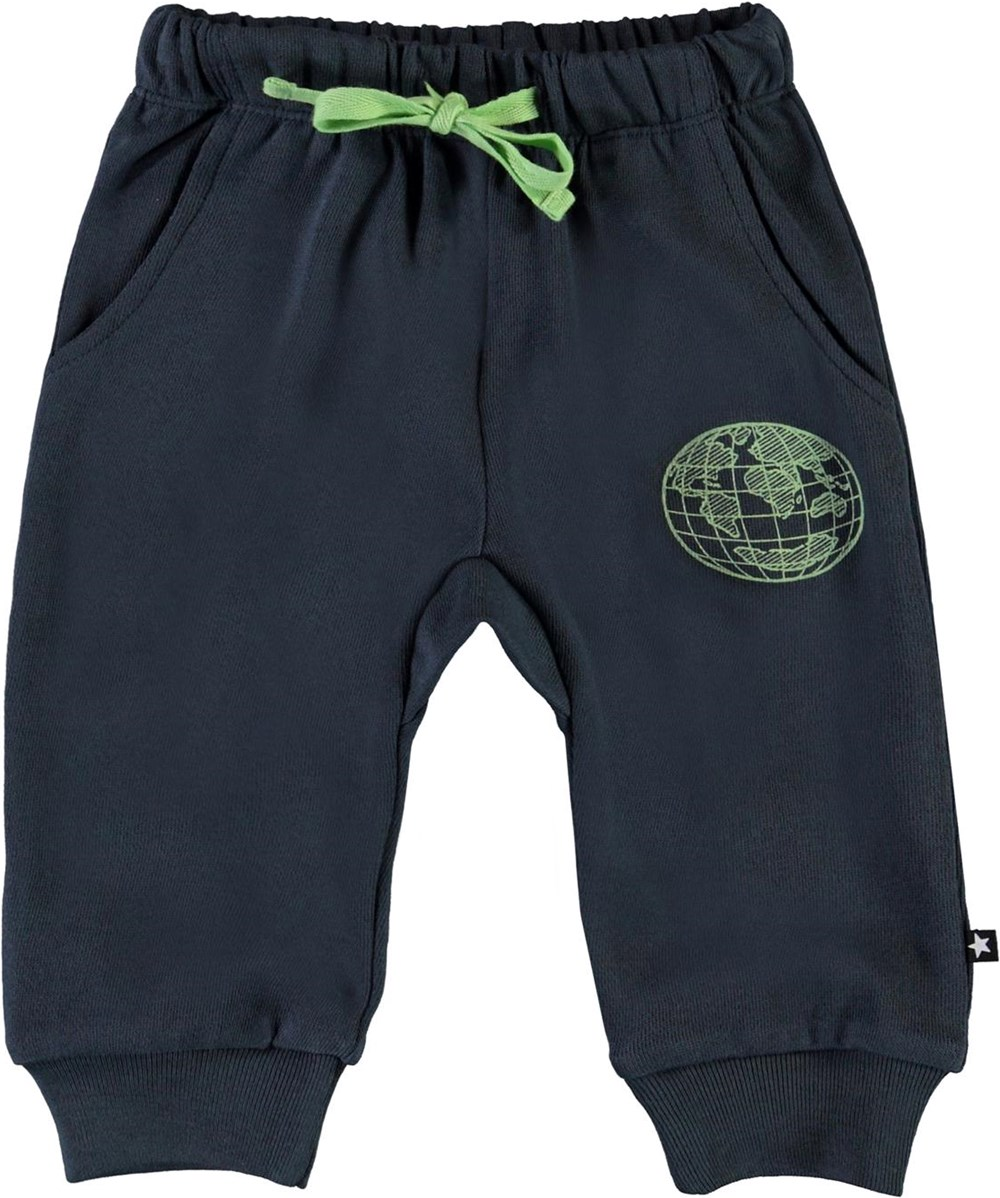 Simme - Summer Night - Blue organic baby trousers with planet Earth