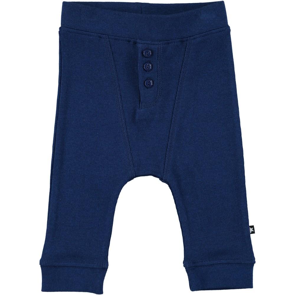 Simpson - Indigo - Dark blue baby trousers in rib