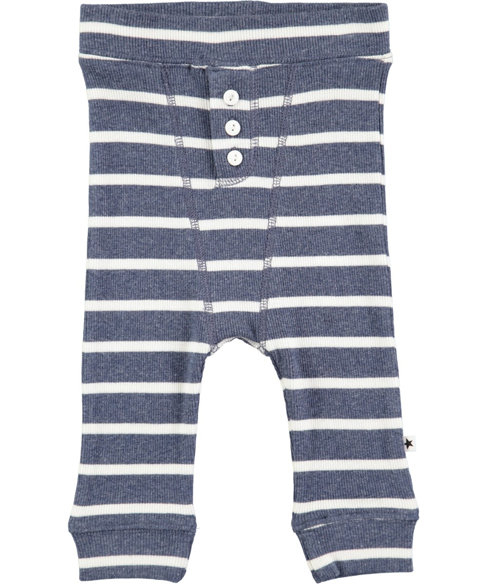 Simpson - White Star Stripe - Blue striped baby trousers in rib