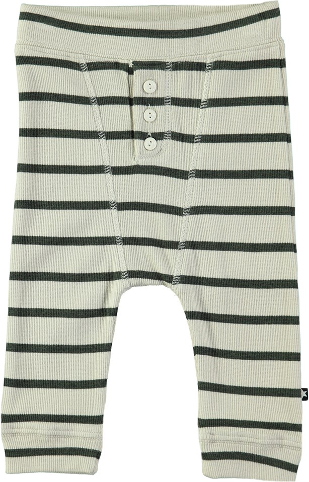 Simpson - Deep Forest Stripe - Striped baby trousers in rib